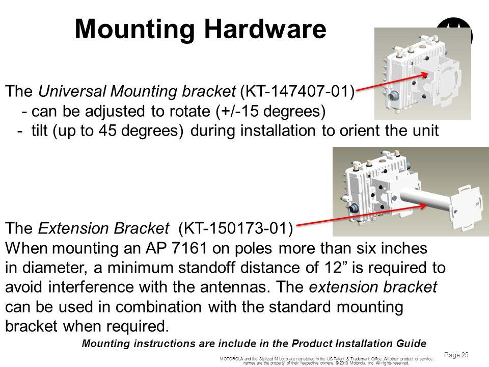 Mounting Hardware The Universal Mounting bracket (KT-147407-01)