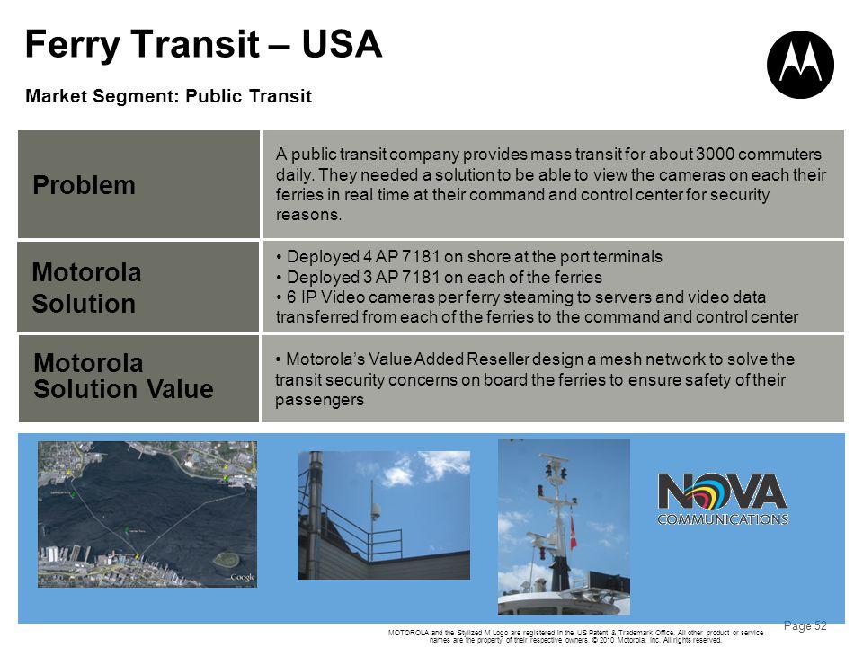 Ferry Transit – USA Problem Motorola Solution Motorola Solution Value