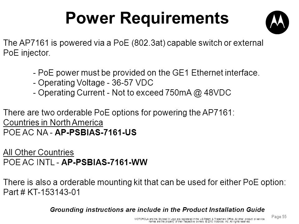 Power Requirements The AP7161 is powered via a PoE (802.3at) capable switch or external. PoE injector.