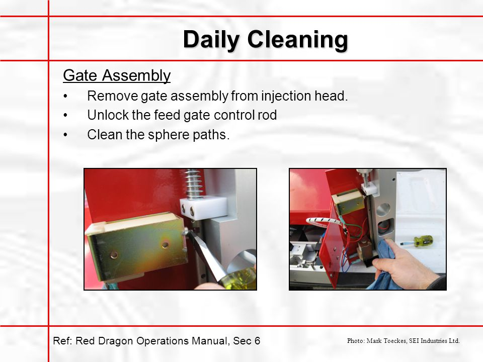 Daily Cleaning Gate Assembly Remove gate assembly from injection head.