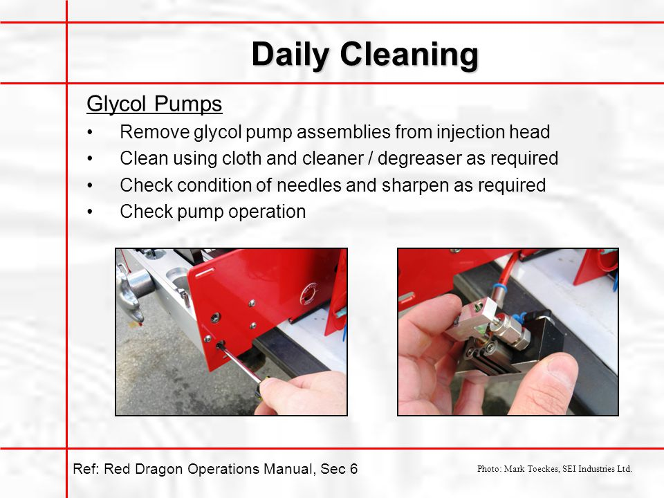 Daily Cleaning Glycol Pumps