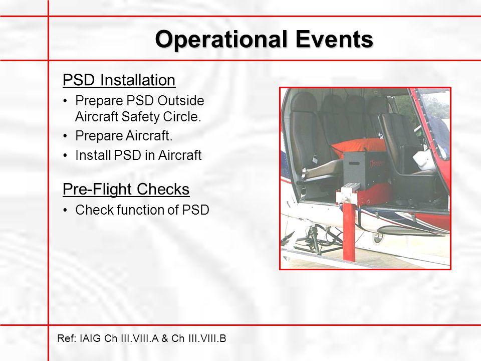 Operational Events PSD Installation Pre-Flight Checks