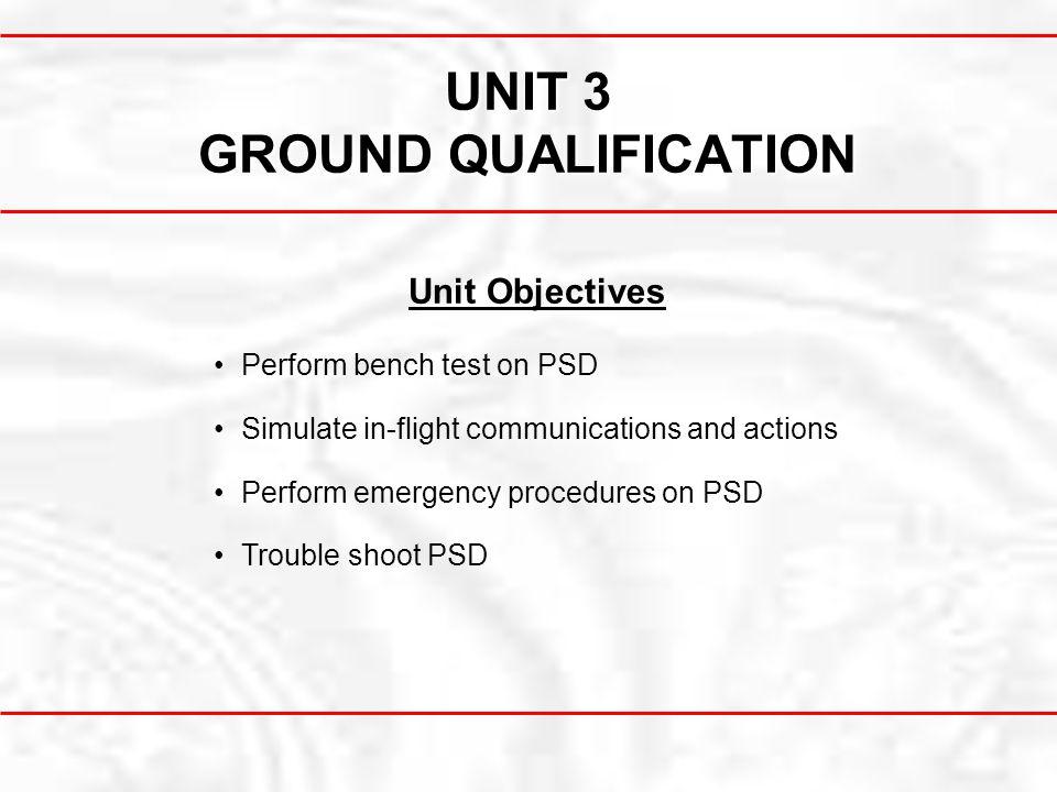 UNIT 3 GROUND QUALIFICATION