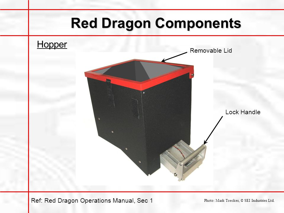 Red Dragon Components Hopper Removable Lid Lock Handle