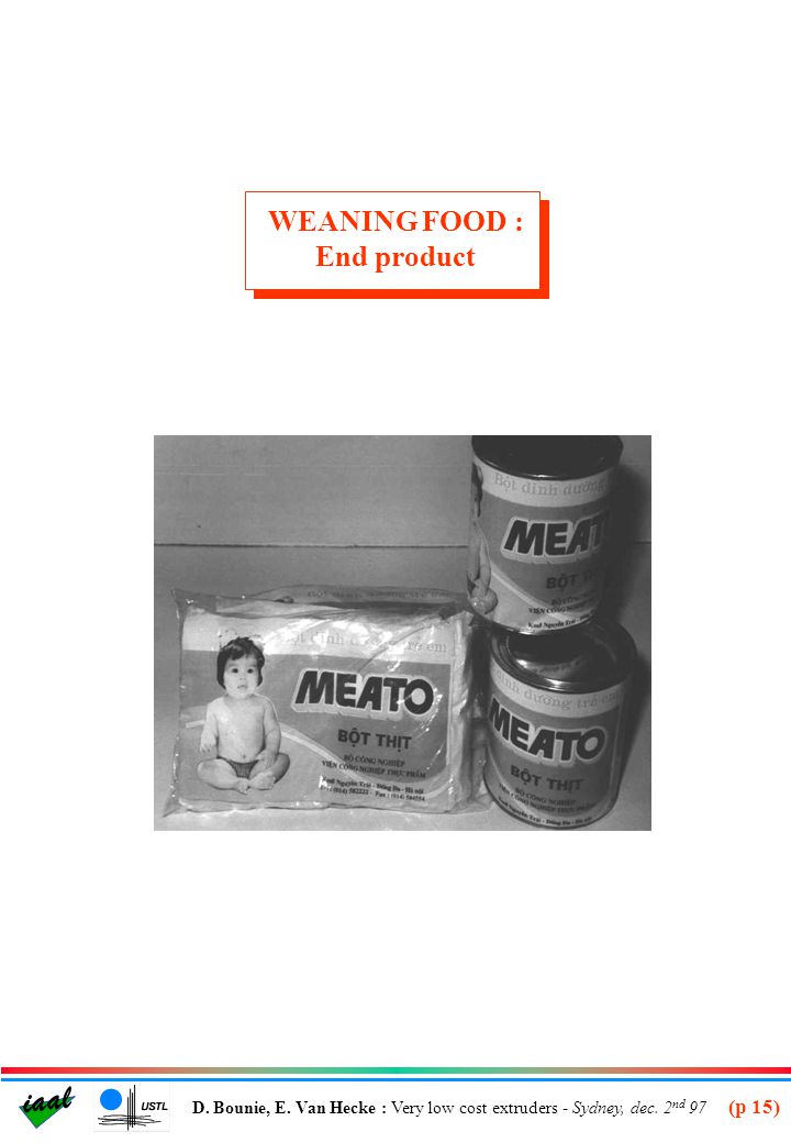 WEANING FOOD : End product