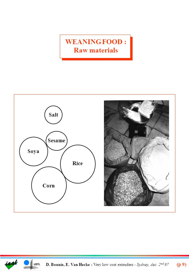 WEANING FOOD : Raw materials