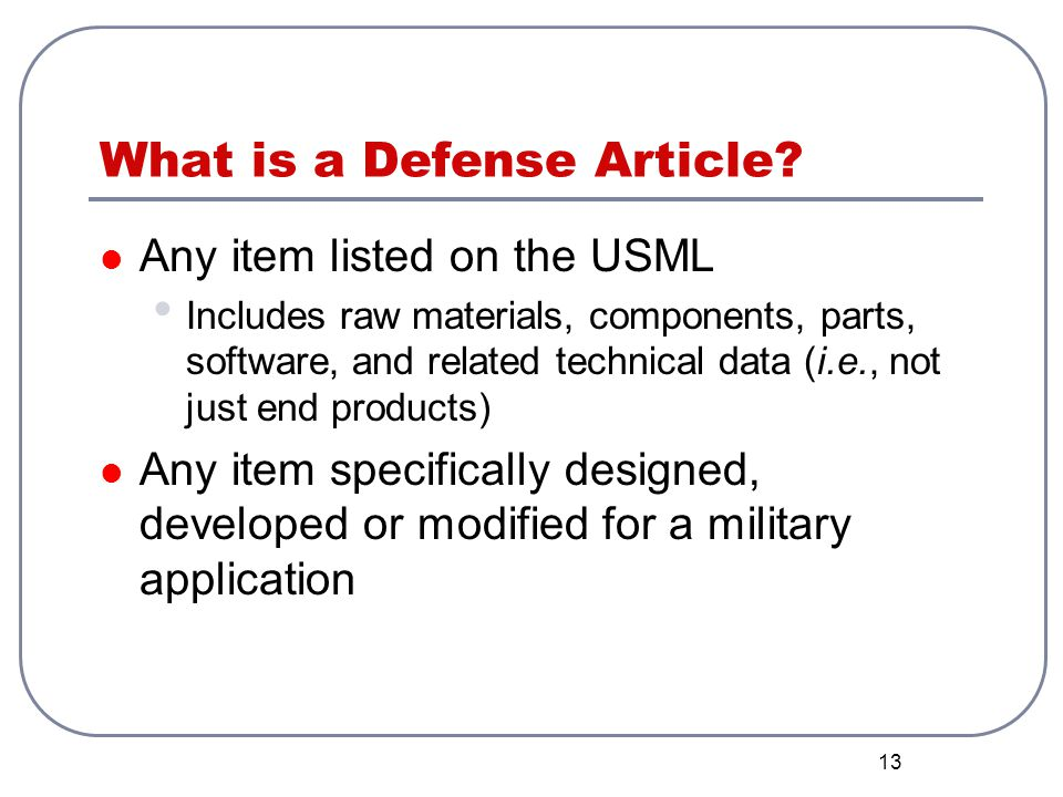 What is a Defense Article