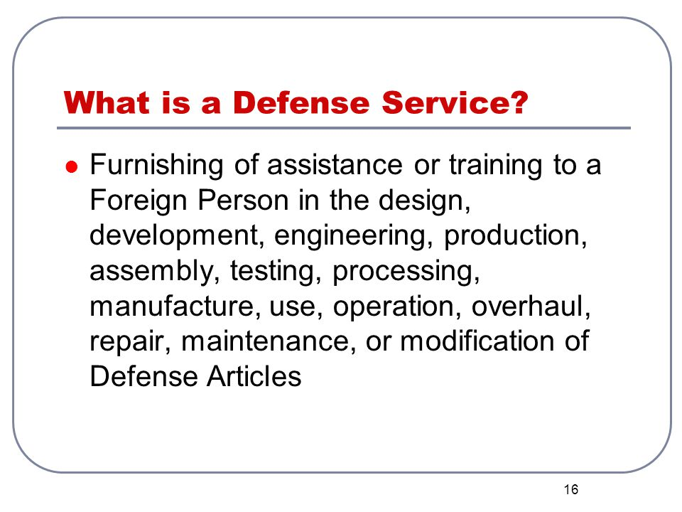 What is a Defense Service