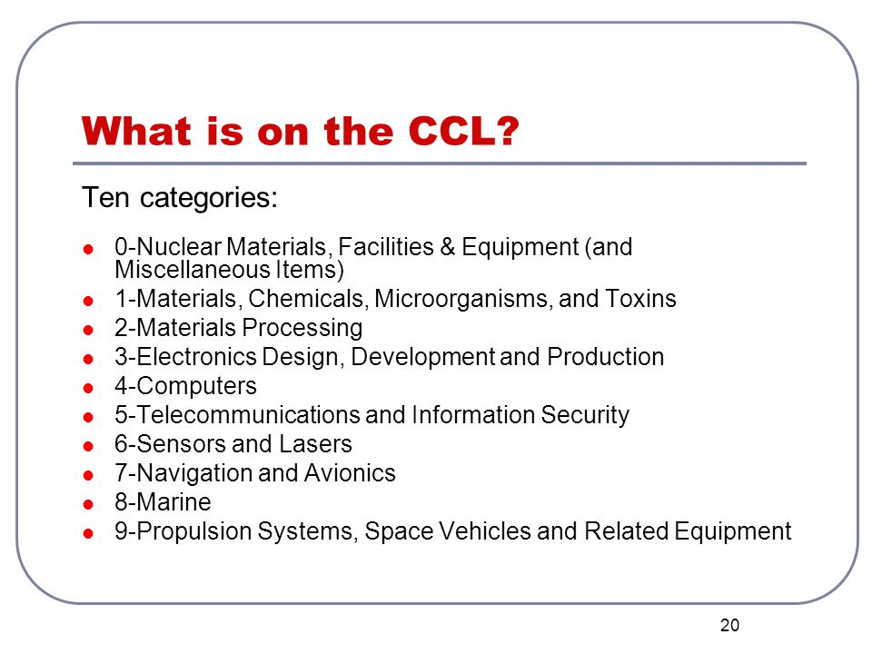 What is on the CCL Ten categories: