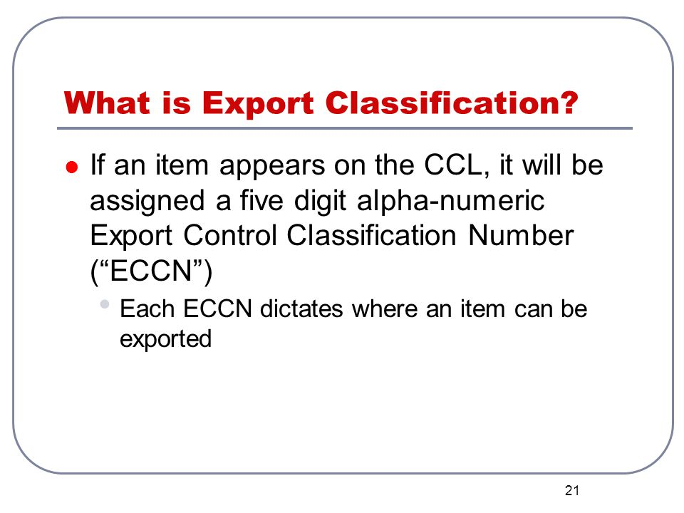 What is Export Classification