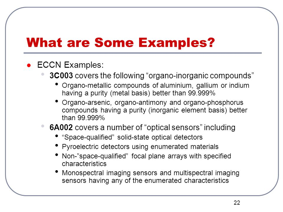What are Some Examples ECCN Examples: