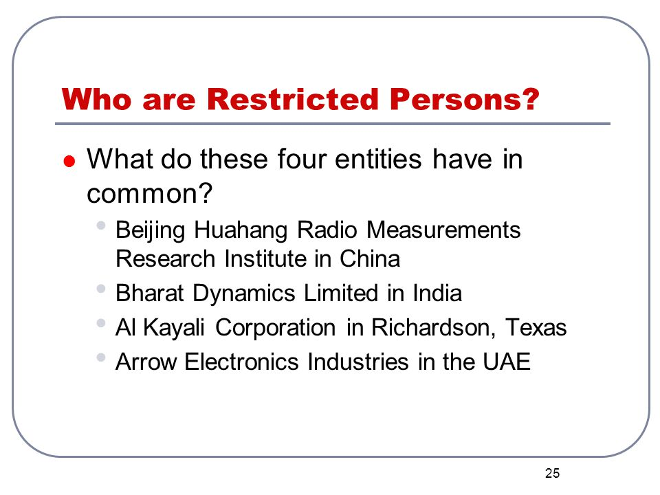 Who are Restricted Persons