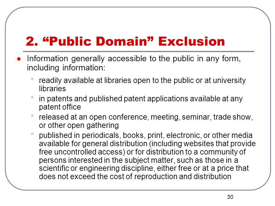 2. Public Domain Exclusion