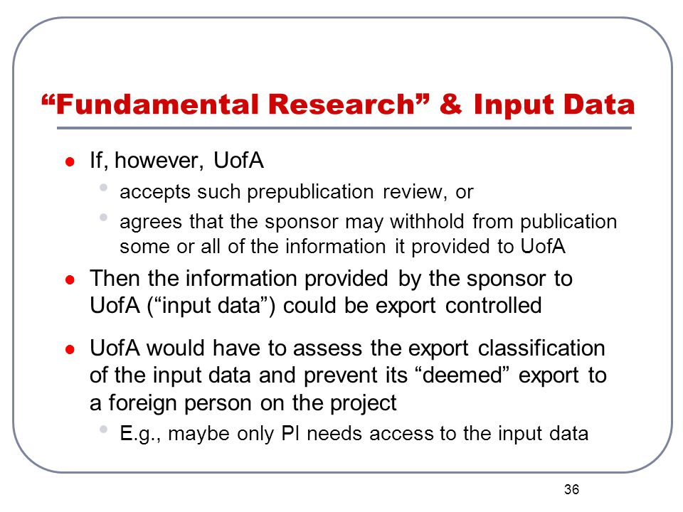 Fundamental Research & Input Data