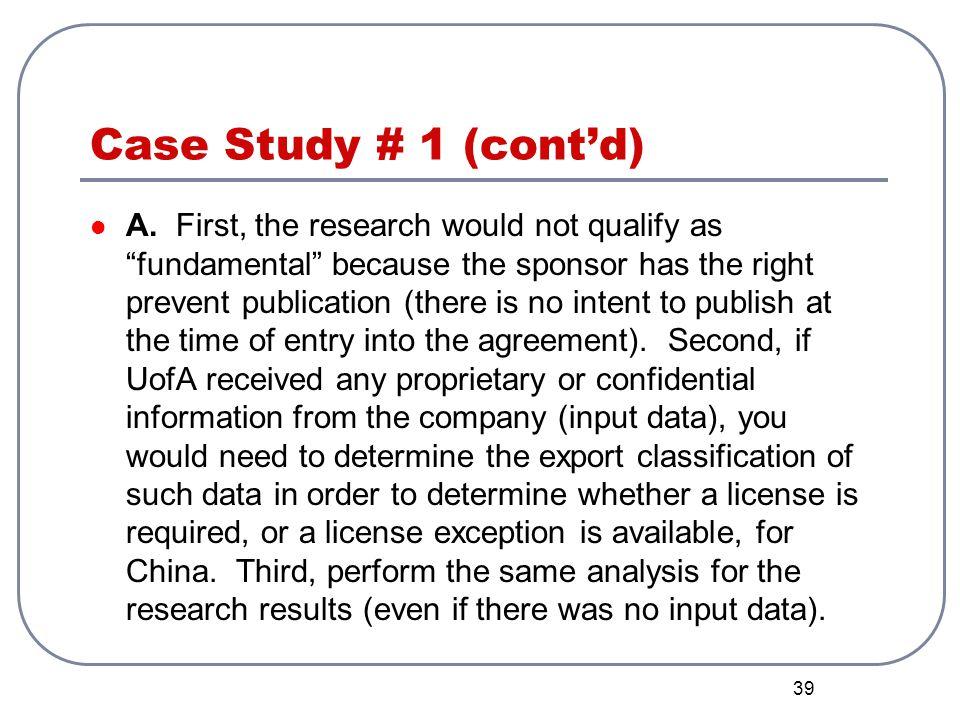 Case Study # 1 (cont'd)