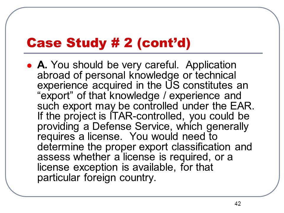 Case Study # 2 (cont'd)