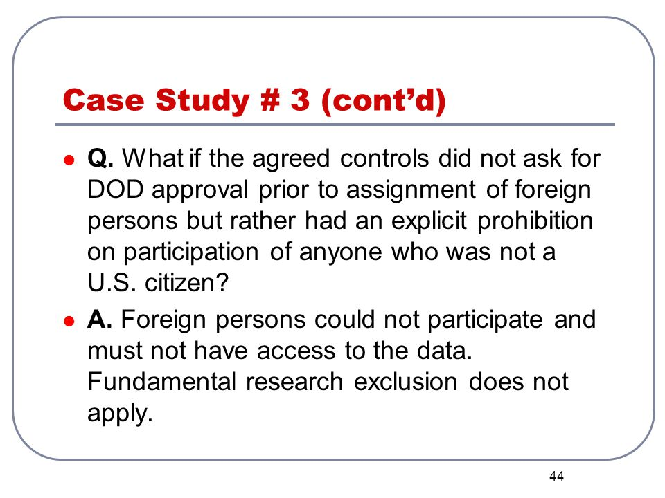 Case Study # 3 (cont'd)