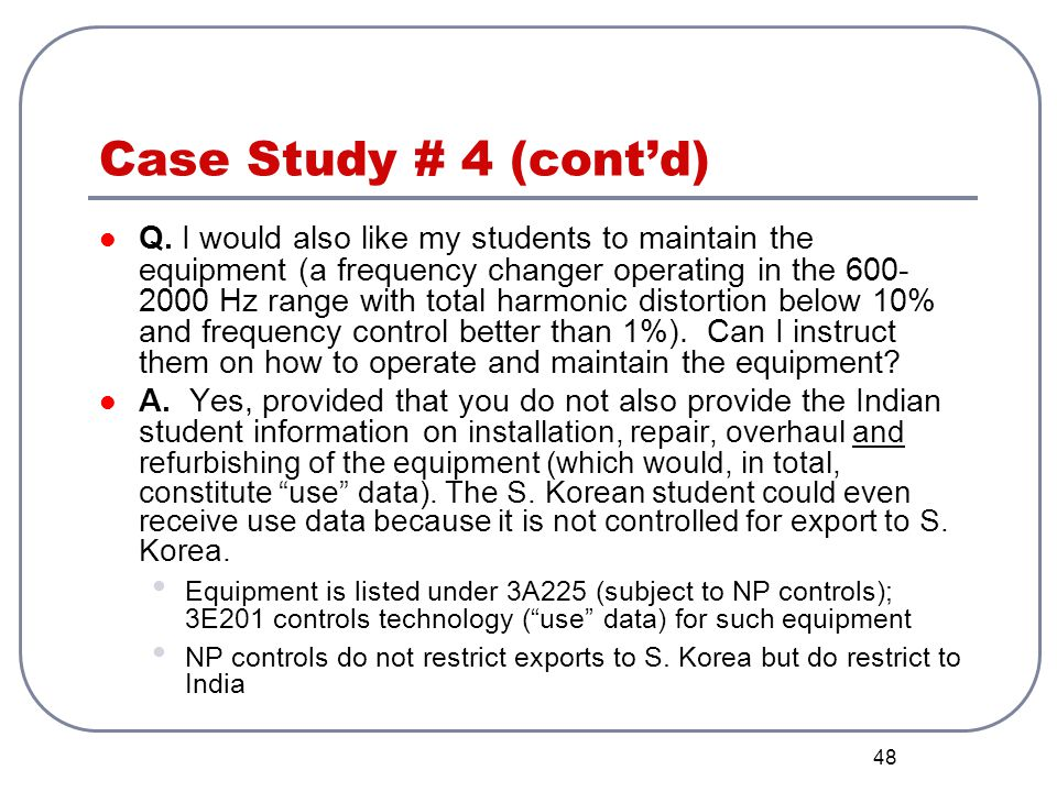 Case Study # 4 (cont'd)