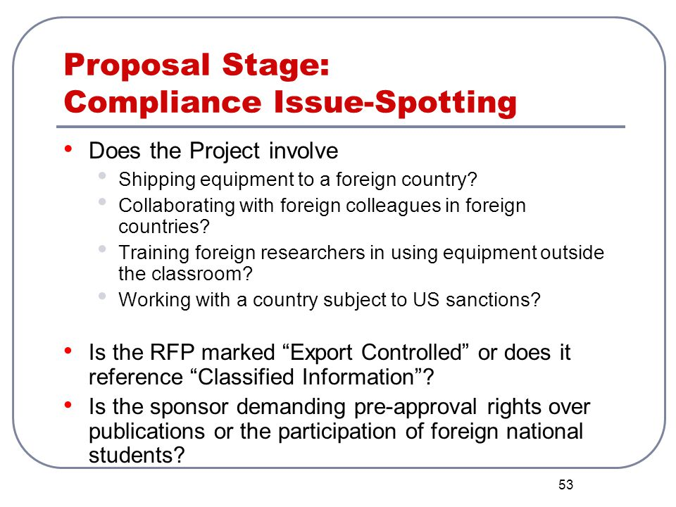 Proposal Stage: Compliance Issue-Spotting