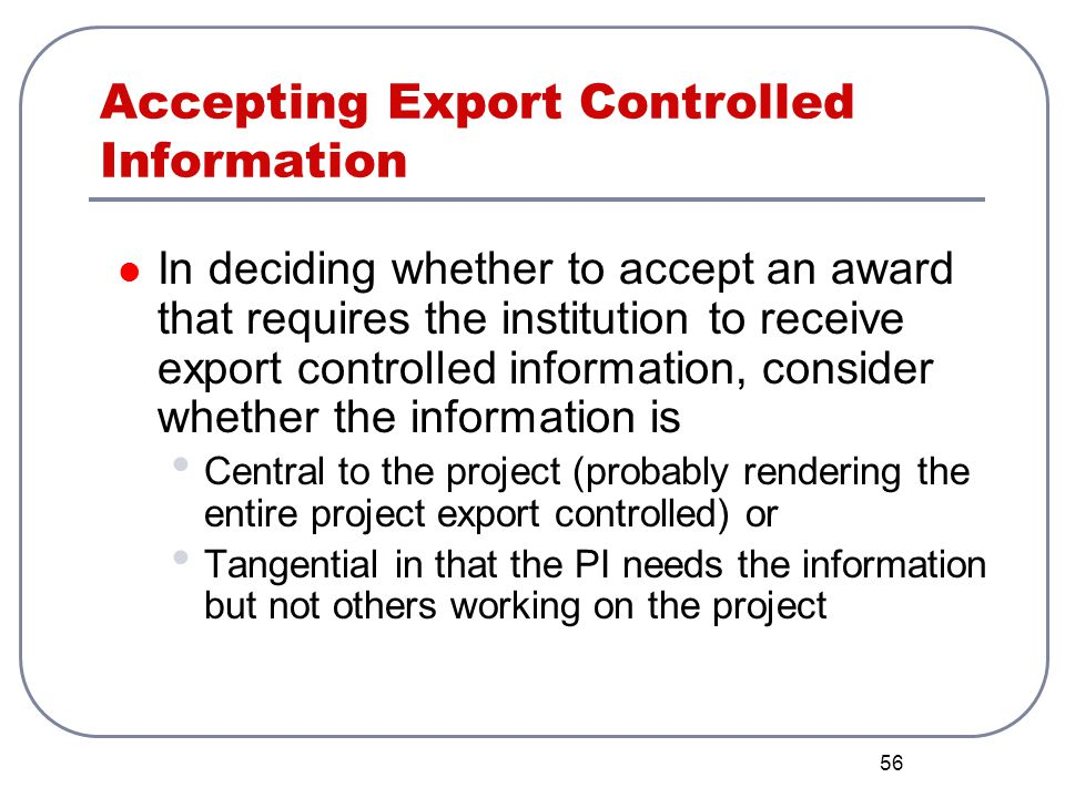 Accepting Export Controlled Information