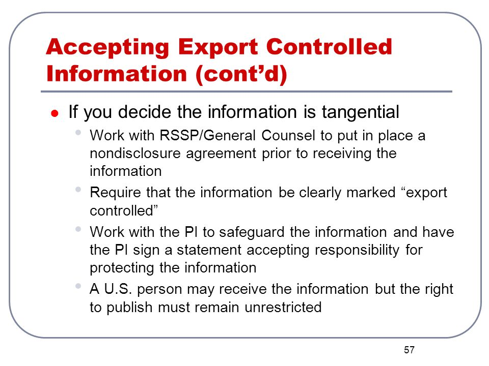 Accepting Export Controlled Information (cont'd)