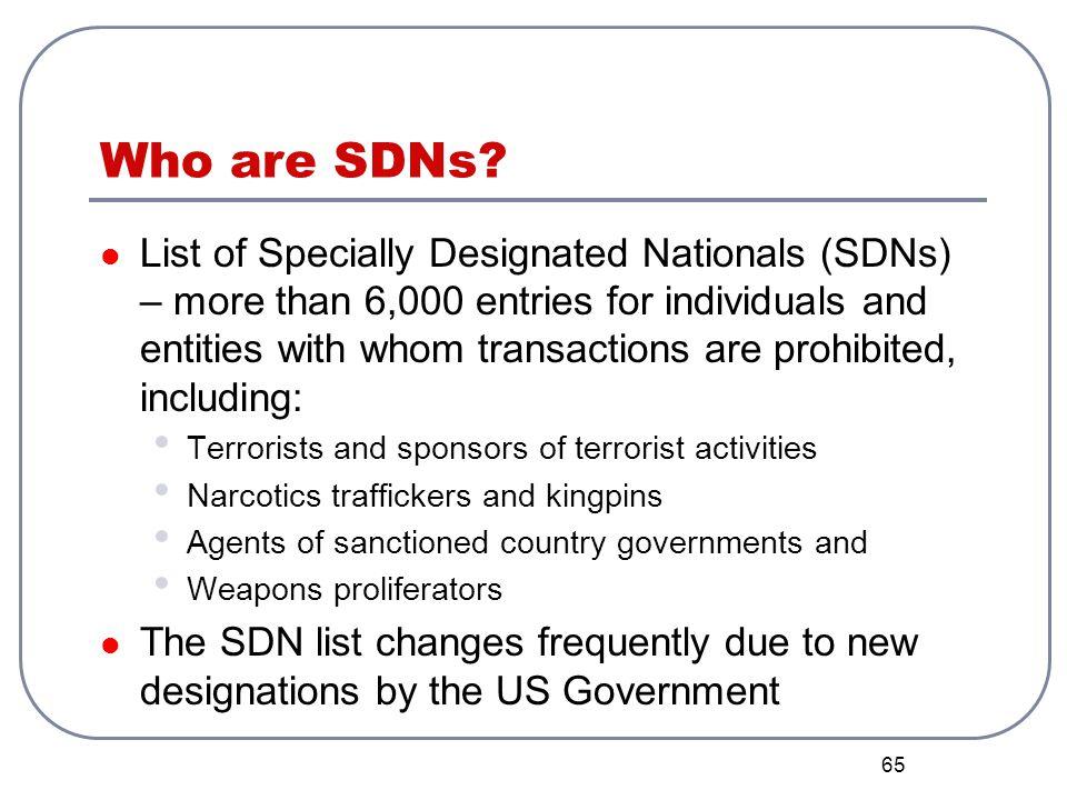 Who are SDNs