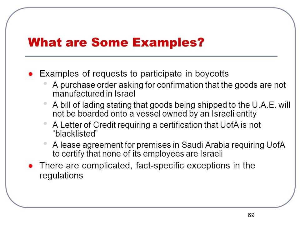 What are Some Examples Examples of requests to participate in boycotts.