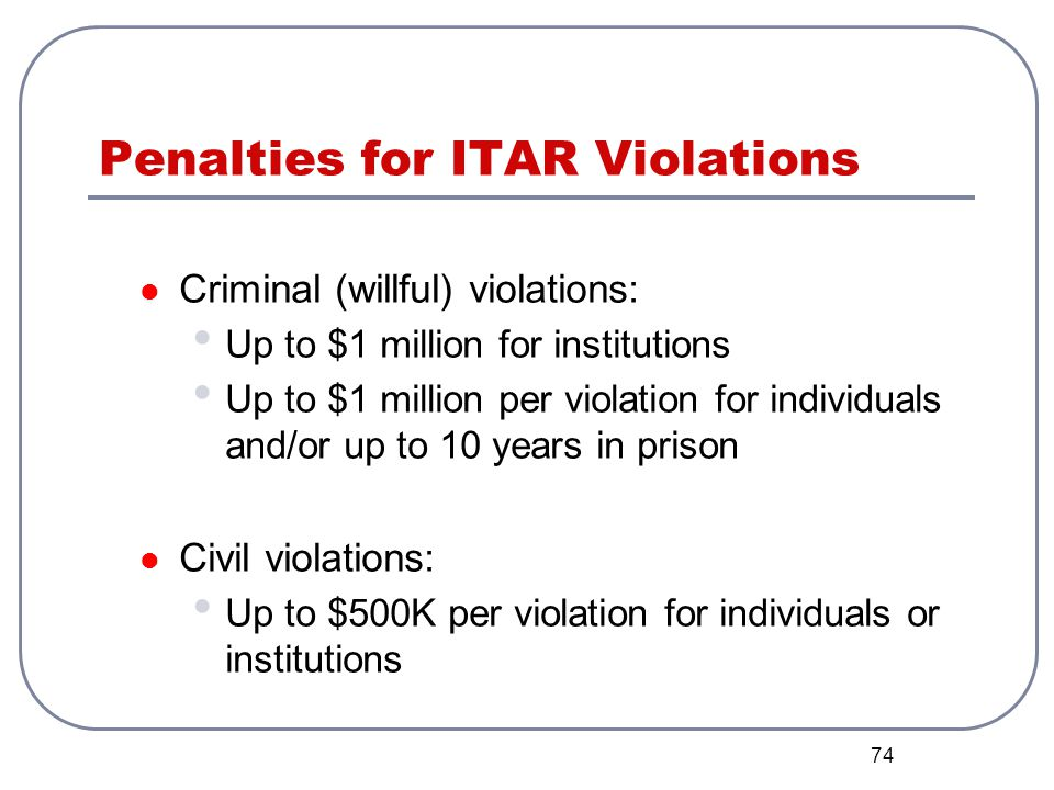 Penalties for ITAR Violations