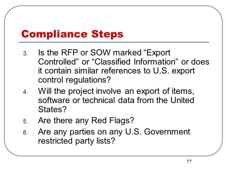 Compliance Steps