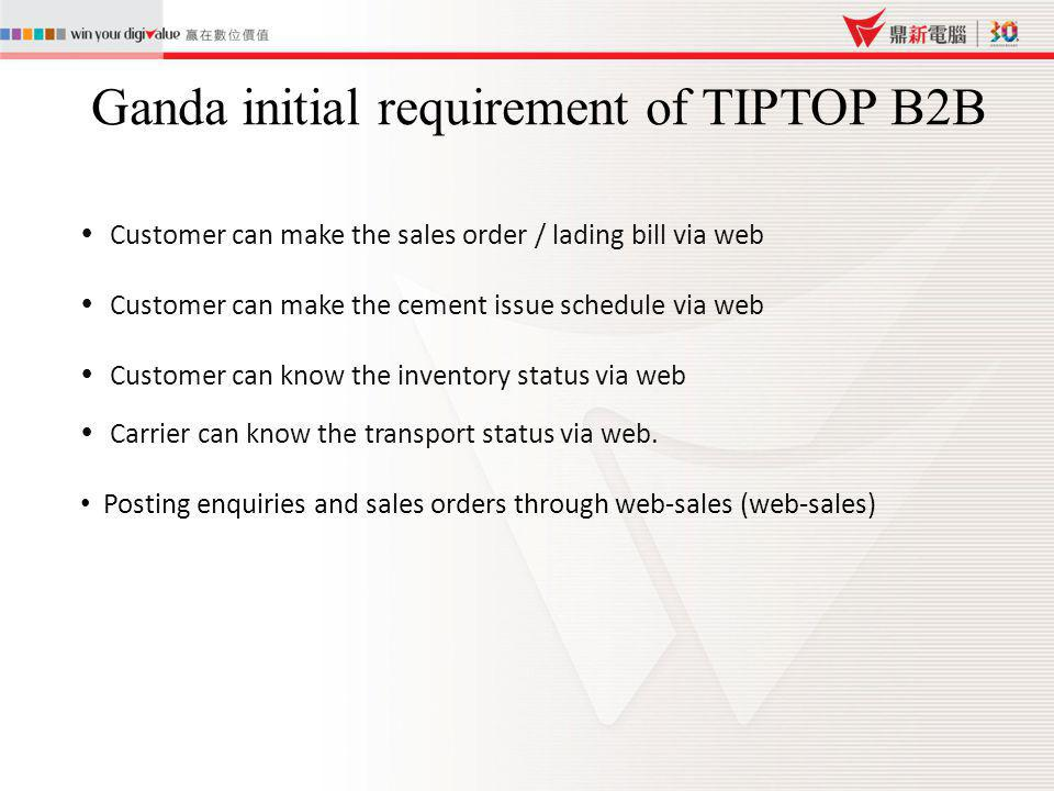 Ganda initial requirement of TIPTOP B2B