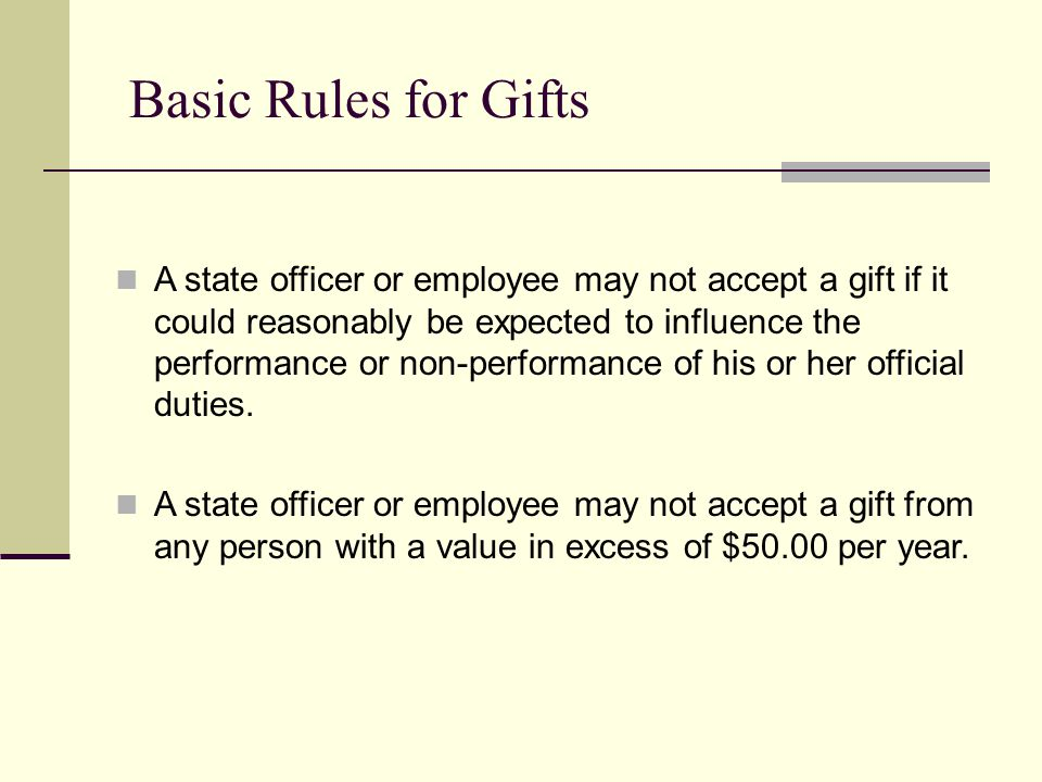 Basic Rules for Gifts