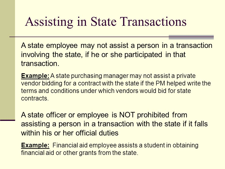 Assisting in State Transactions