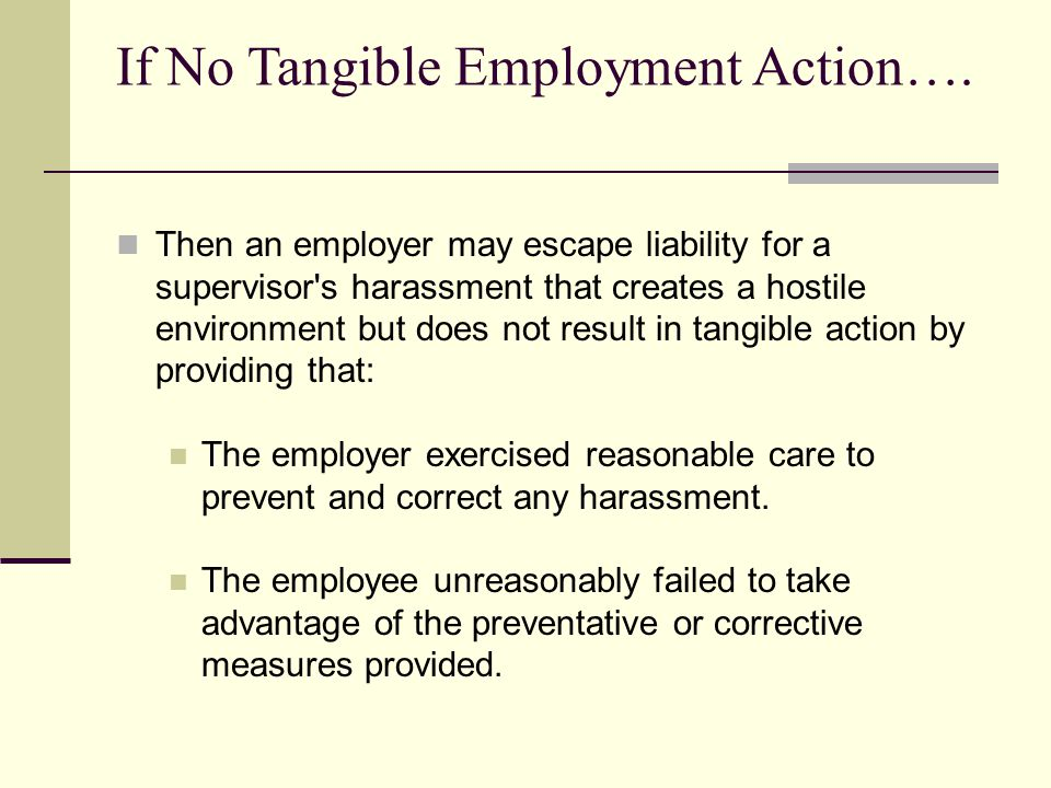 If No Tangible Employment Action….
