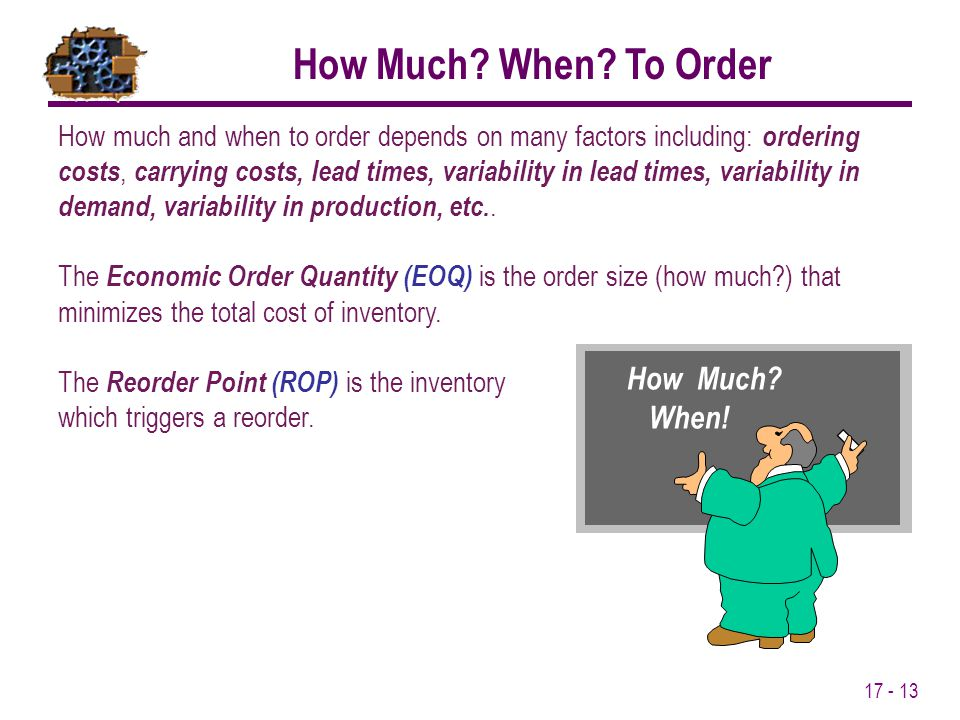How Much When To Order How Much When!