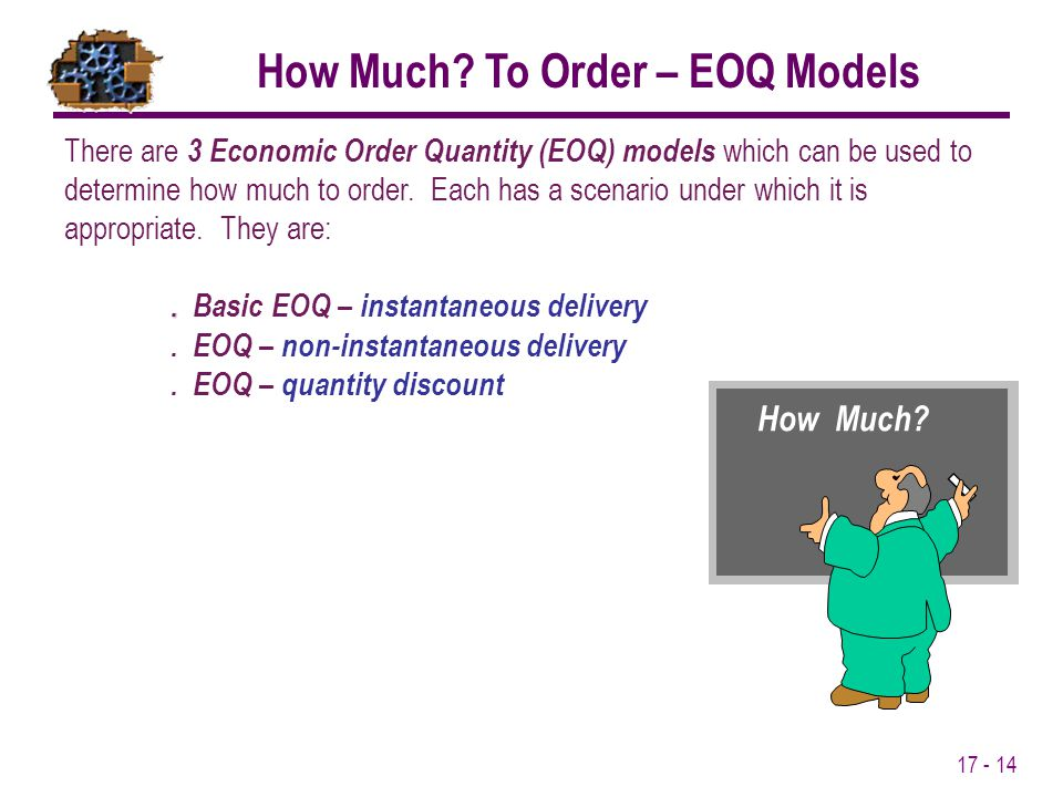 How Much To Order – EOQ Models