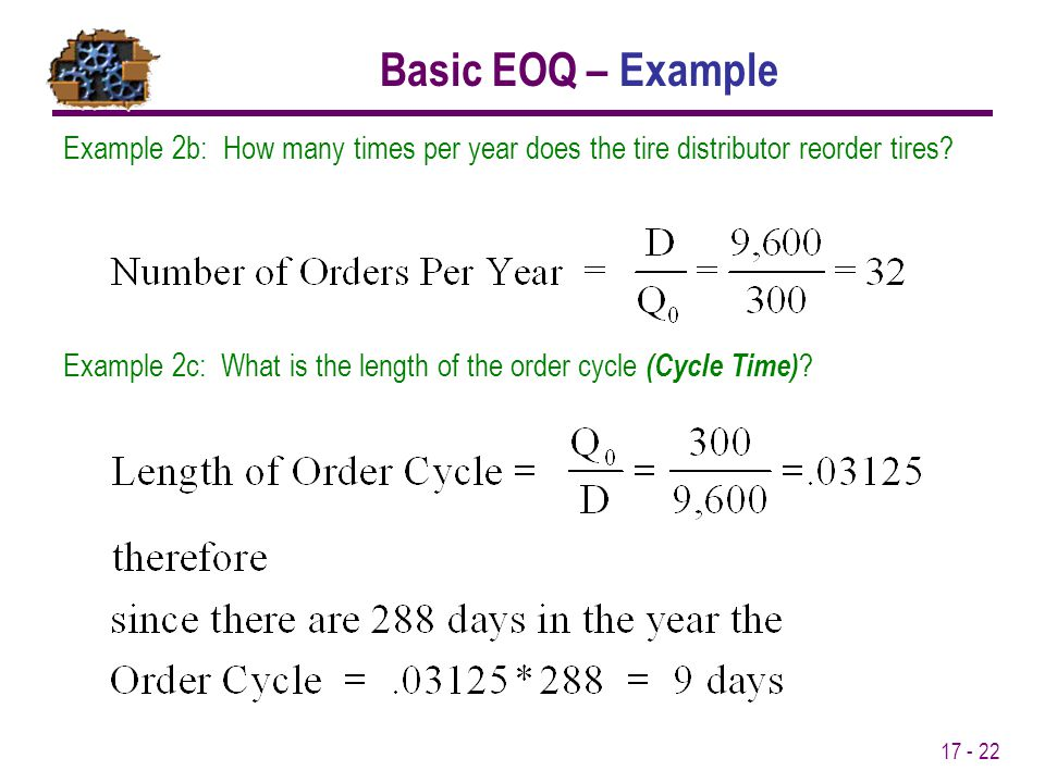 Basic EOQ – Example Example 2b: How many times per year does the tire distributor reorder tires