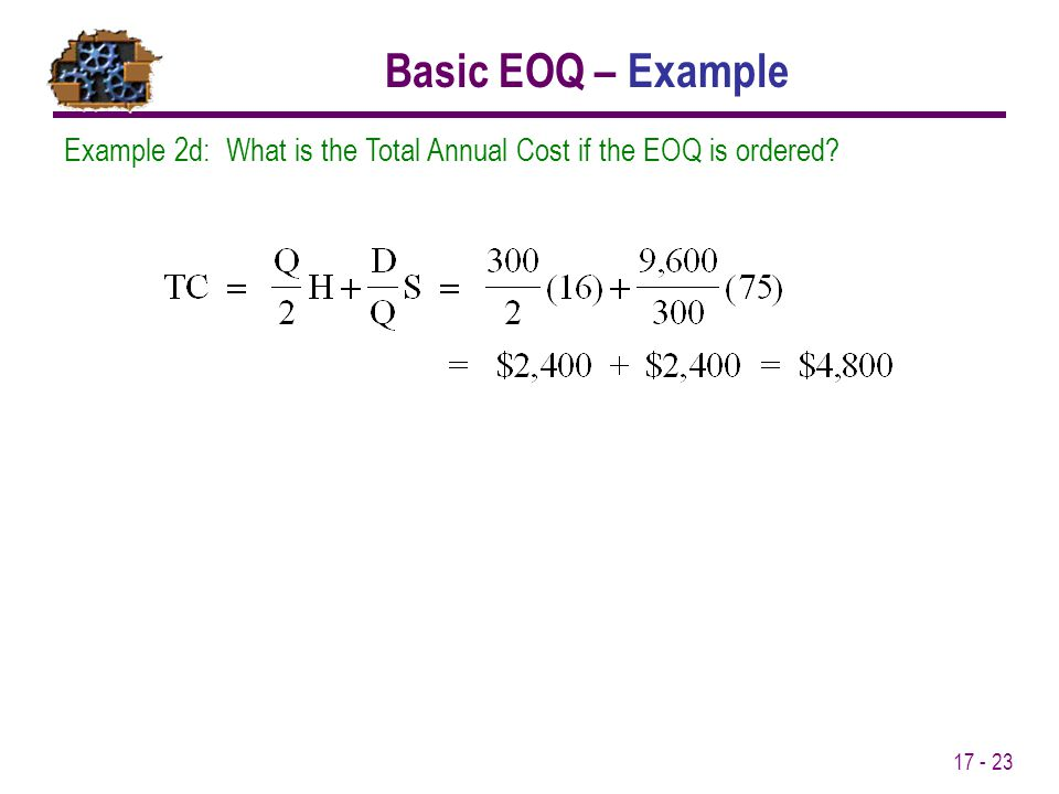 Basic EOQ – Example Example 2d: What is the Total Annual Cost if the EOQ is ordered