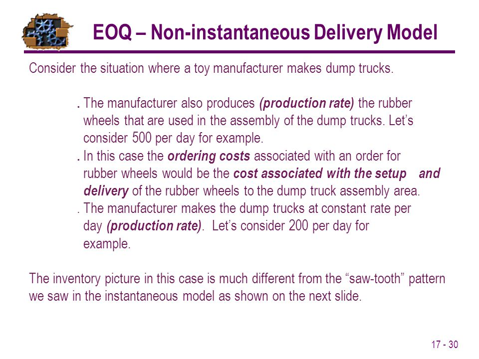 EOQ – Non-instantaneous Delivery Model