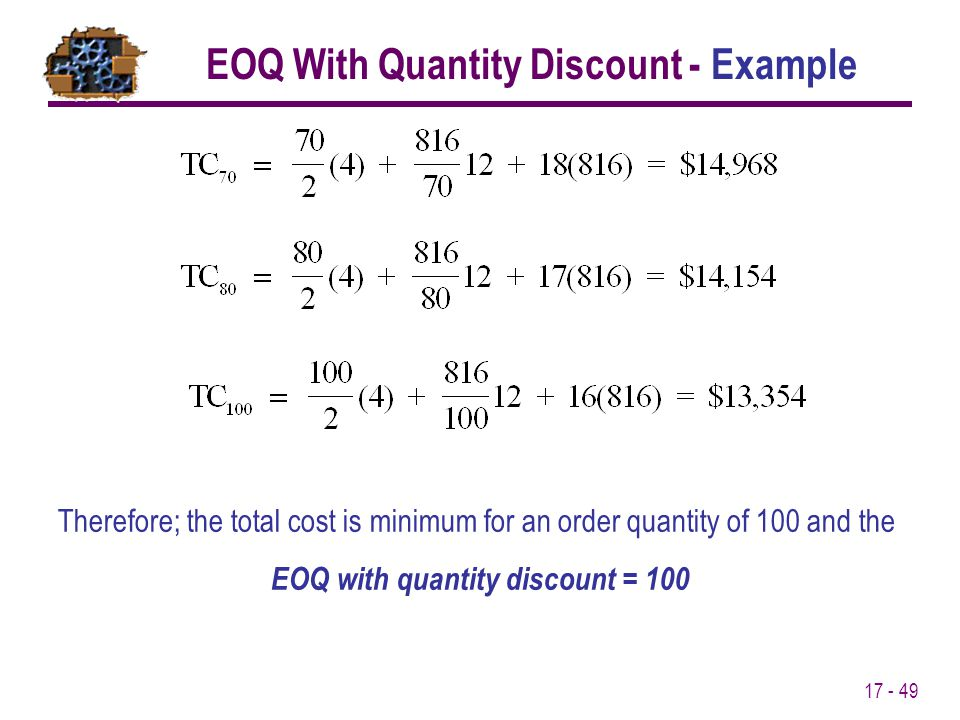 EOQ With Quantity Discount - Example EOQ with quantity discount = 100