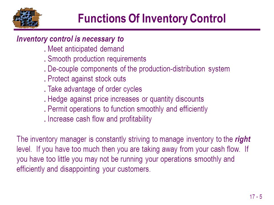 Functions Of Inventory Control
