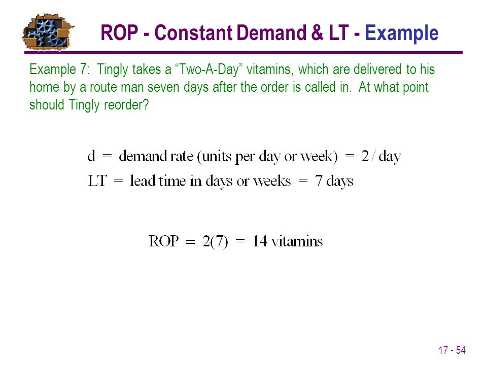 ROP - Constant Demand & LT - Example