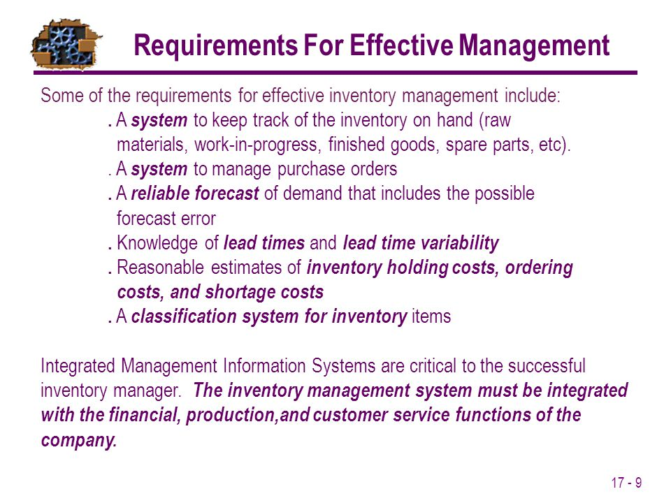 Requirements For Effective Management