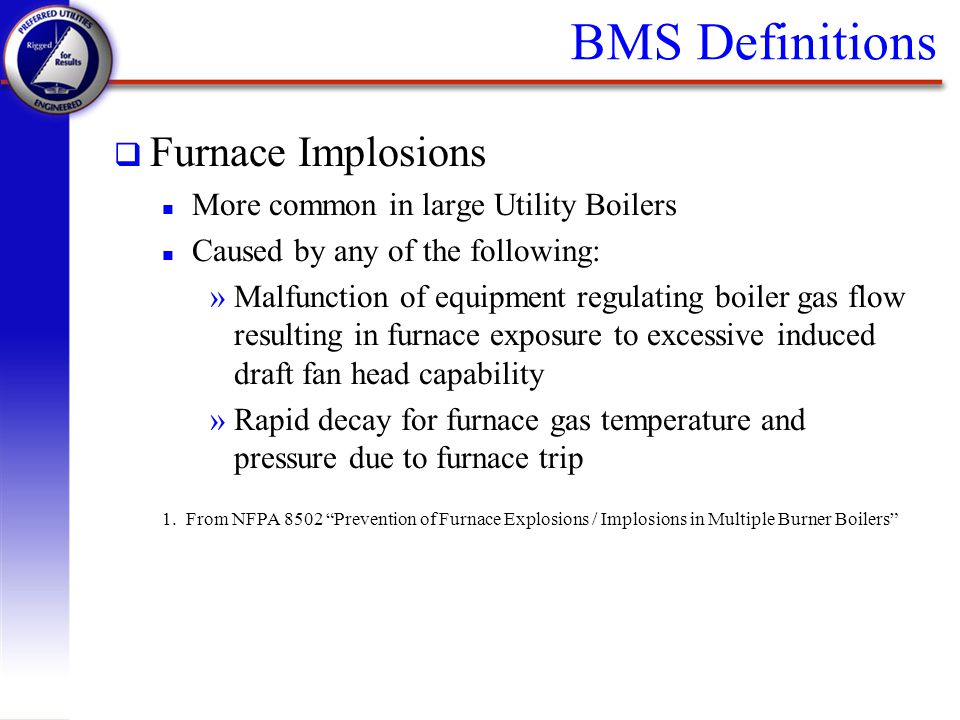 BMS Definitions Furnace Implosions