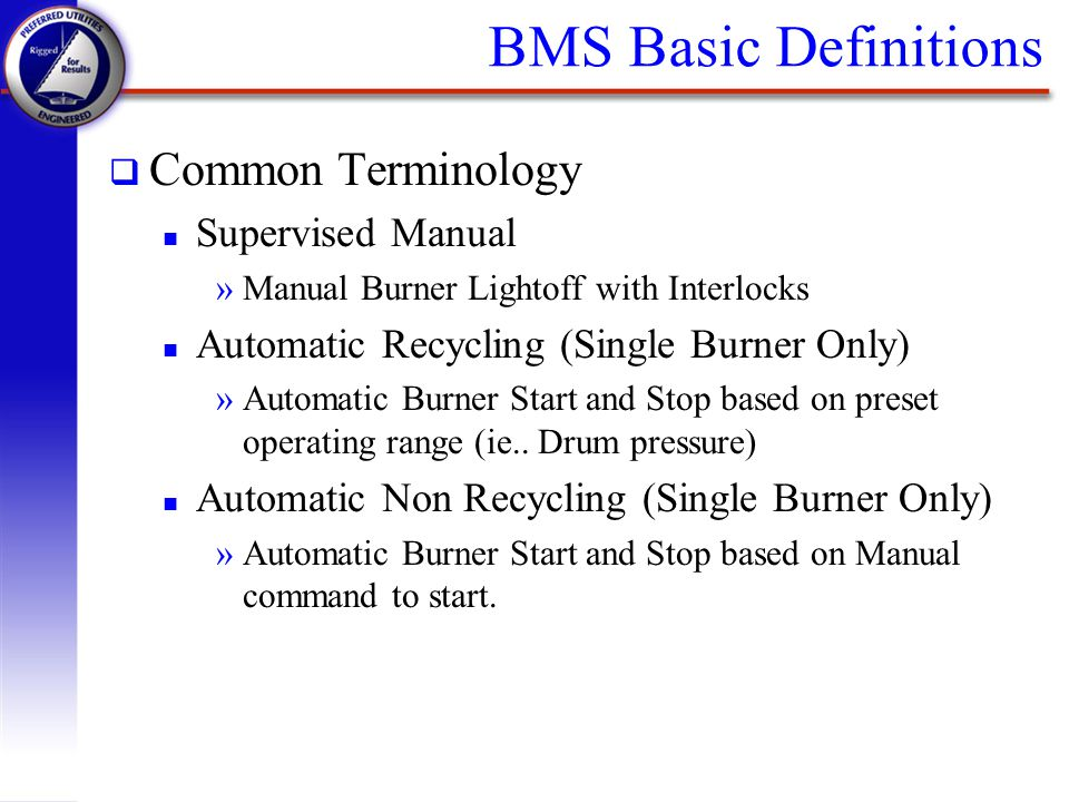 BMS Basic Definitions Common Terminology Supervised Manual