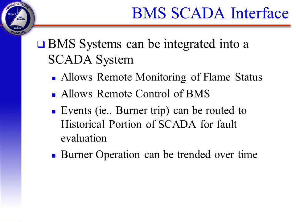 BMS SCADA Interface BMS Systems can be integrated into a SCADA System