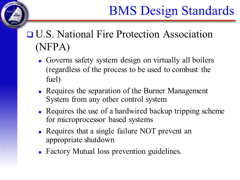 BMS Design Standards U.S. National Fire Protection Association (NFPA)