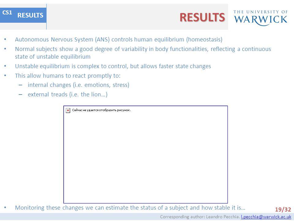 RESULTS RESULTS. CS1. Autonomous Nervous System (ANS) controls human equilibrium (homeostasis)