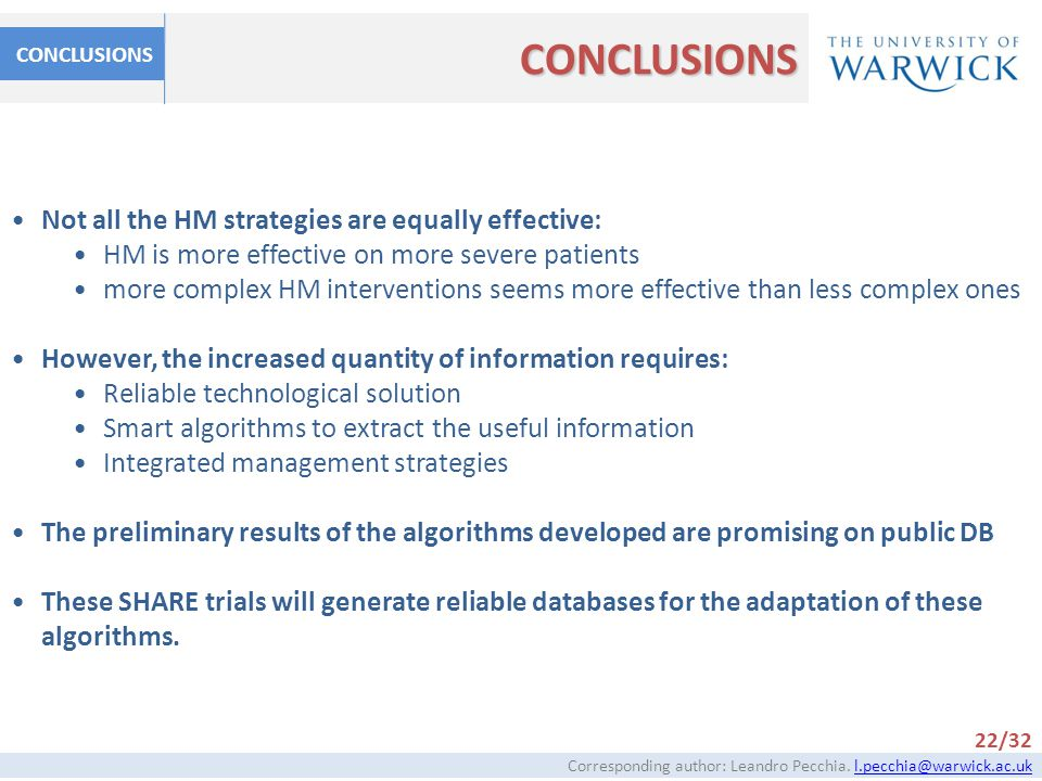 CONCLUSIONS Not all the HM strategies are equally effective: