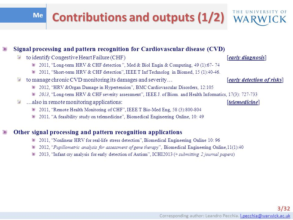 Contributions and outputs (1/2)