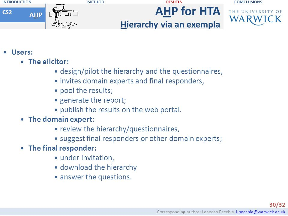 AHP for HTA Hierarchy via an exempla Users: The elicitor: